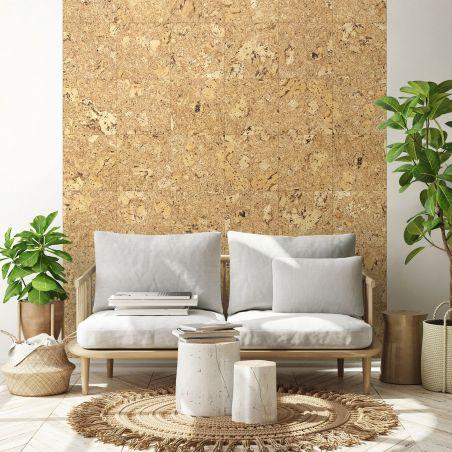 Natural cork squares wallpaper