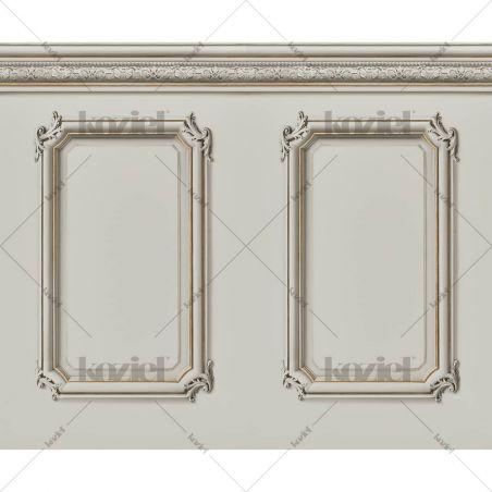 Molded Haussmann wainscot wallpaper - Mastic
