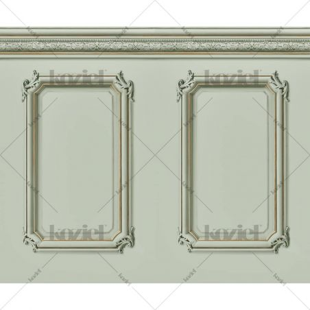 Molded Haussmann wainscot wallpaper - Lovat green
