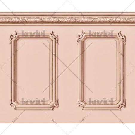 Molded Haussmann wainscot wallpaper - Pink salmon