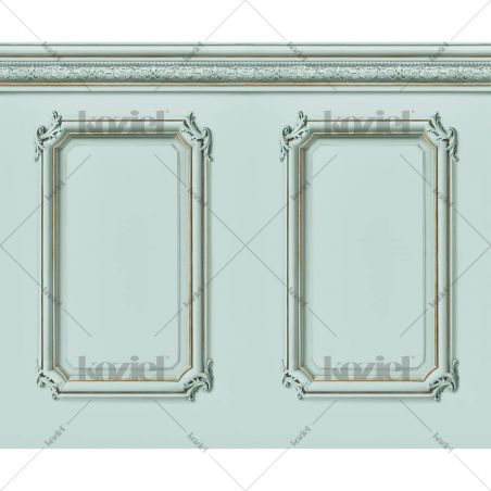 Molded Haussmann wainscot wallpaper - Aqua