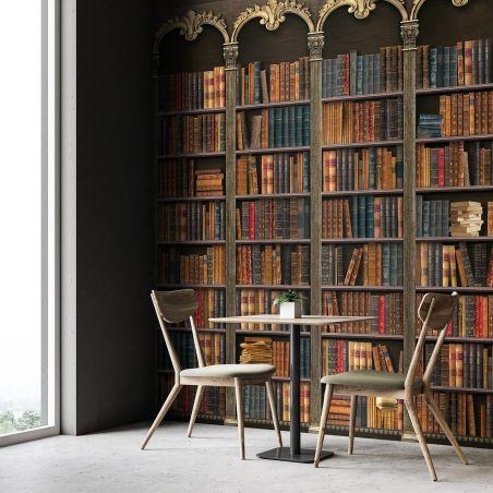 Golden bookshelves Panoramic wall mural