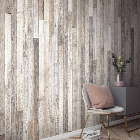 Papier peint panoramique planches de bois de palette blanchi