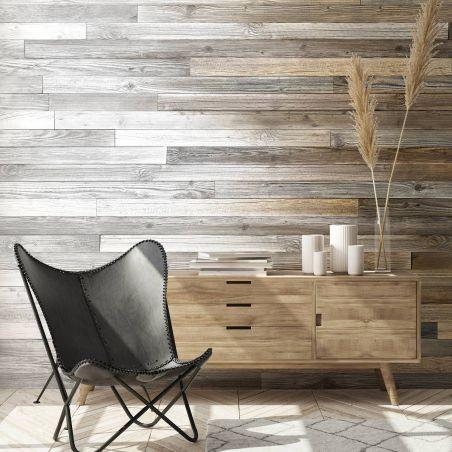 Papier peint panoramique planches de bois de palette tie & dye