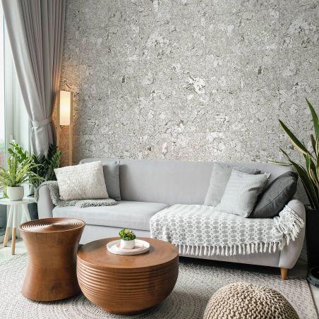 Light grey cork squares wallpaper