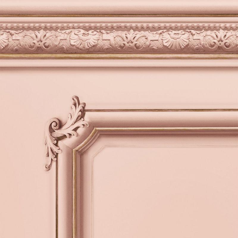 Molded Haussmann wainscot wallpaper Pink salmon - Sample