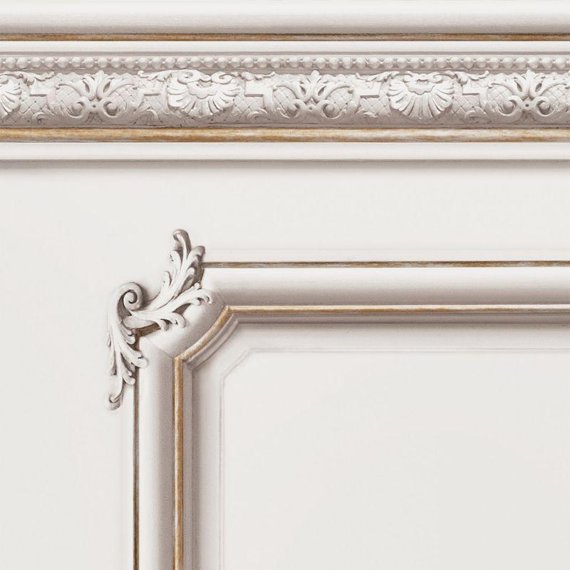 Molded Haussmann wainscot wallpaper Porcelaine white - Sample