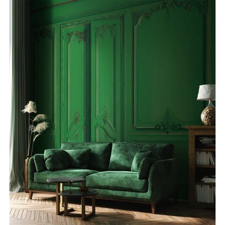 Papier peint panoramique boiseries Haussmann - Emeraude