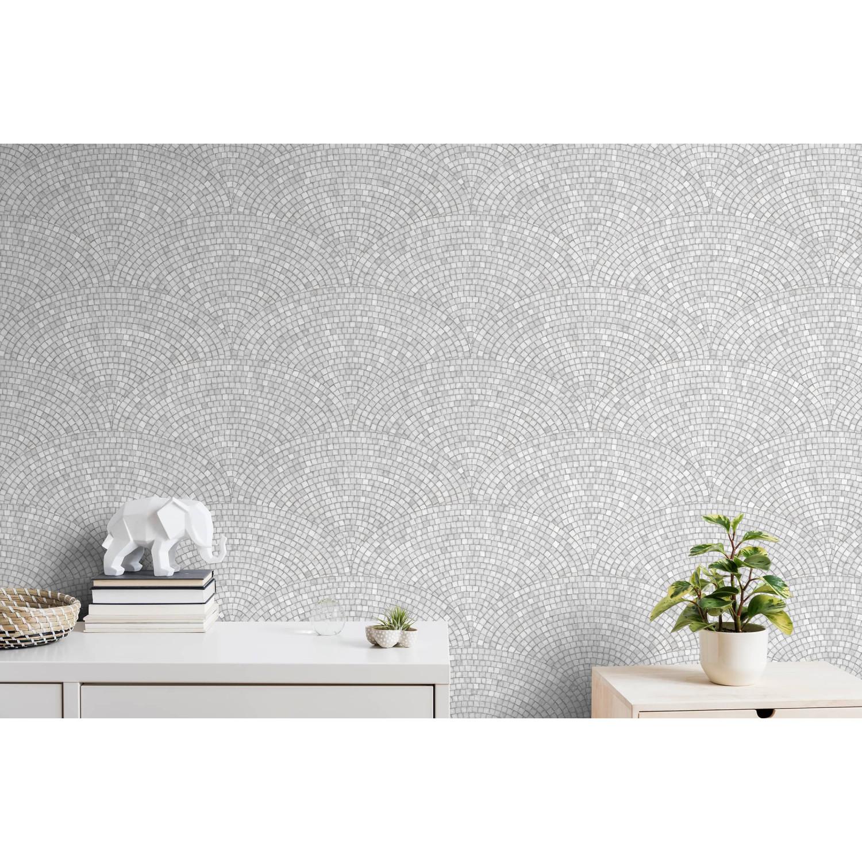 4,49 €//1qm Vinyle papier peint mosaïque rétro gris clair vert California Dreams 6366-07