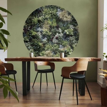 Wide panoramic mix green wall mural at dusk - Ø 130 cm