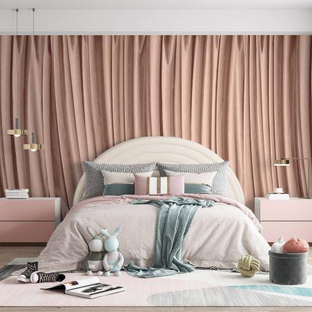 Papier peint panoramique rideau rose poudré