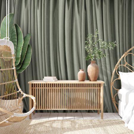 Sage-green curtain panoramic mural