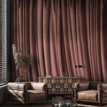 Papier peint panoramique rideau vieux rose