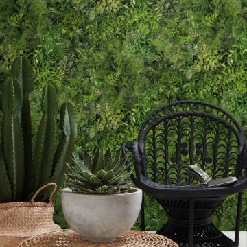 Wide Panoramic Mix Green Wall Mural Natural