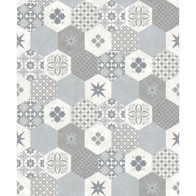Tapisserie Carreaux De Ciment papier peint carreaux de ciment hexagone gris