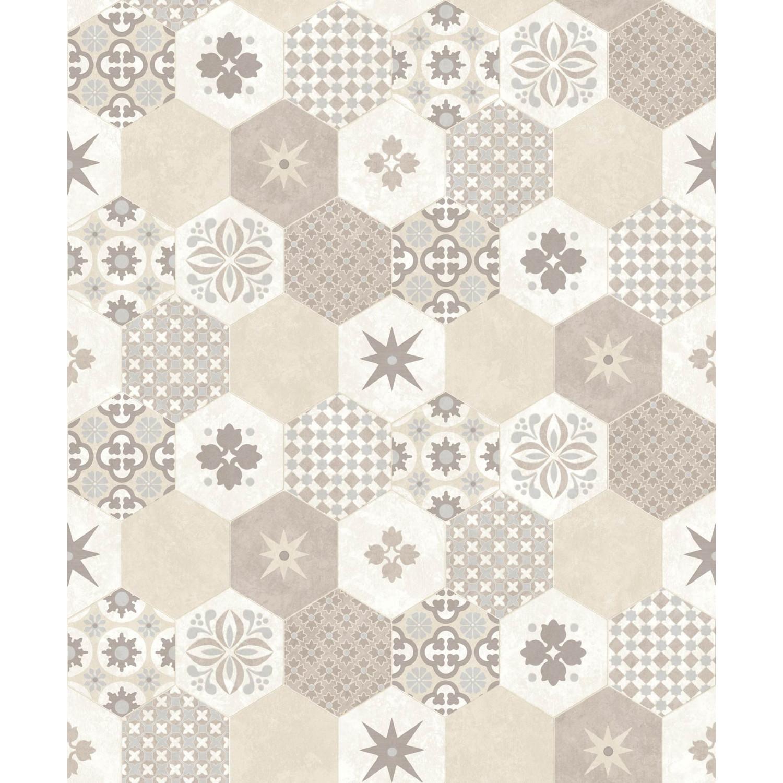 Tapisserie Carreaux De Ciment papier peint carreaux de ciment hexagone beige - echantillon