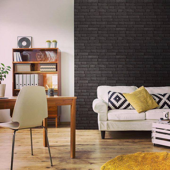 notre nouveau papier peint briques noires koziel le blog. Black Bedroom Furniture Sets. Home Design Ideas