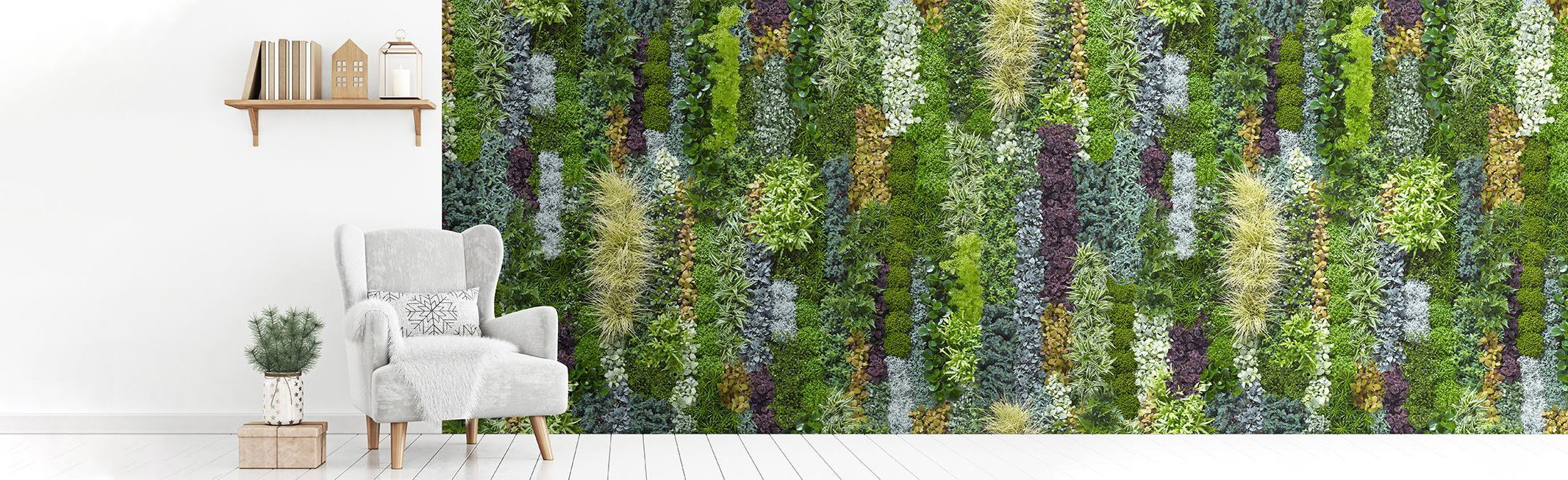Green wide murals with plants